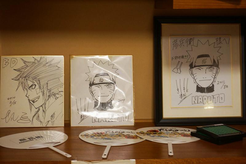 お好み焼き 彦兵衛で見かけたNARUTOの作者岸本斉史先生のサイン色紙