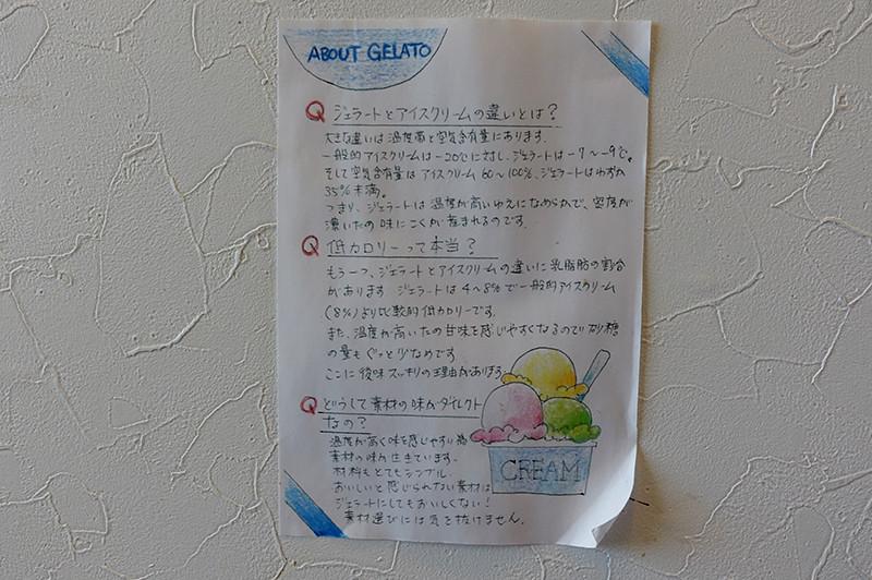 GELATERIA THE CREAM(ジェラッテリアクリーム) ジェラート説明ポスター