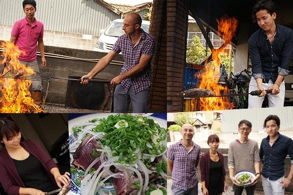 上町池澤本店さんでカツオのたたきの藁焼き体験