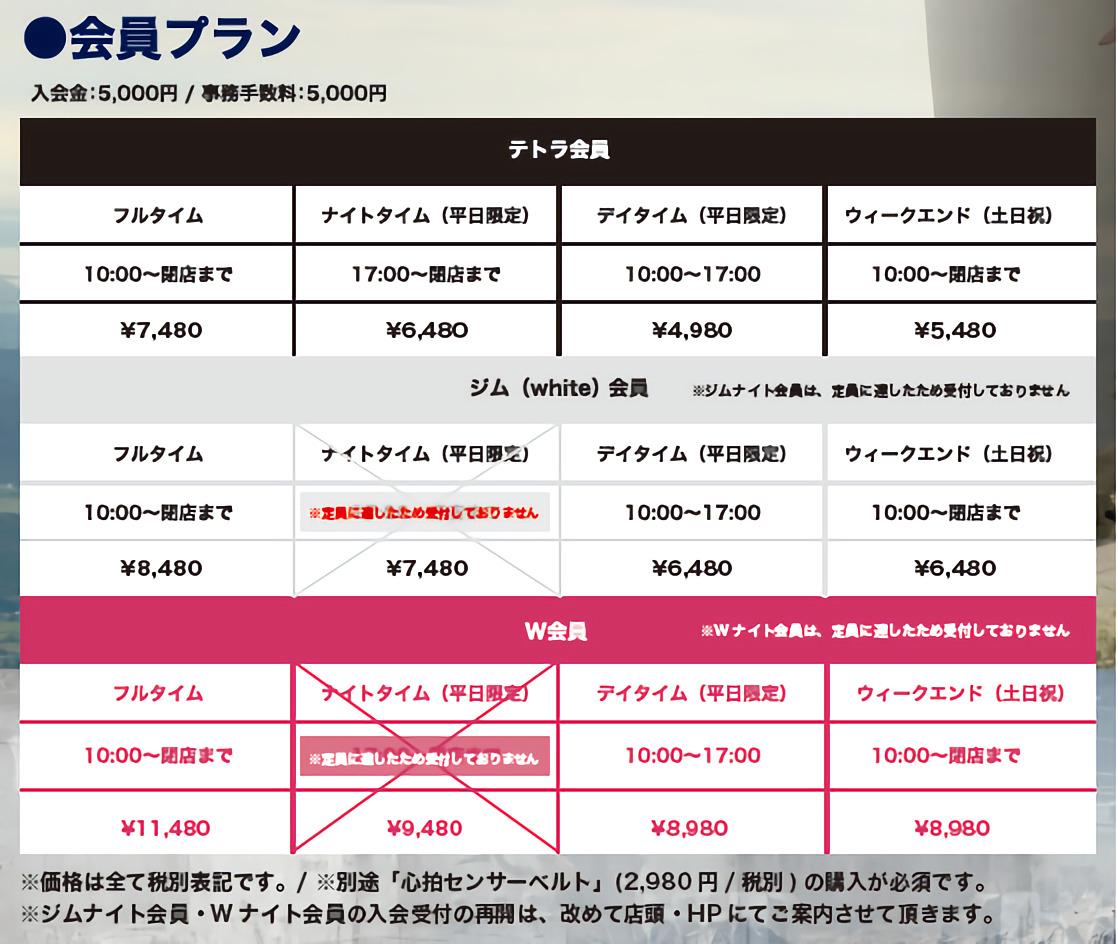 テトラフィット高知高須店 会員プラン9月チラシ裏面