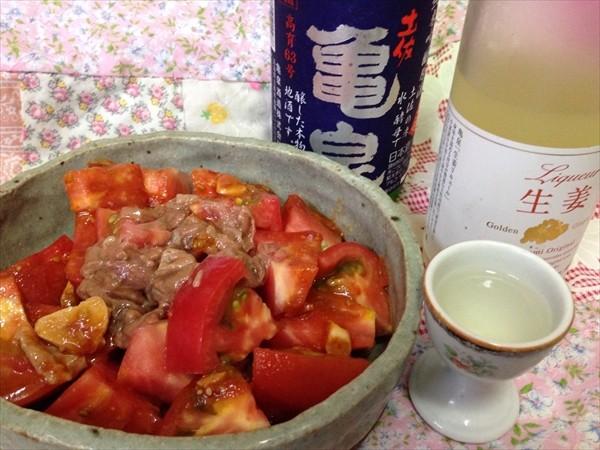 亀泉と並ぶトマトと酒盗